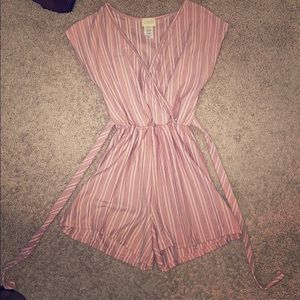 Light Pink and White Striped Romper